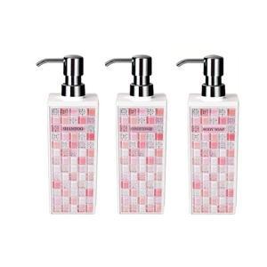 ピアストレラ ディスペンサー詰め替えボトル3本セット(シャンプー・コンディショナー・ボディソープ)角型 大(500ml)ピンク|pricejapan
