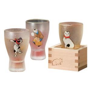 江戸猫ぐらす 枡酒グラス ねこぐらす 100ml はちまきねこ・6614の商品画像|ナビ