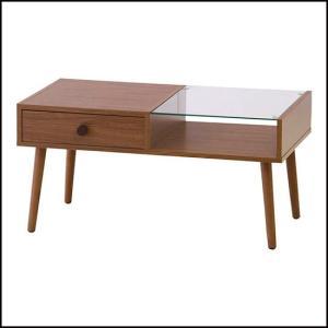 ガラス板 センターテーブル ナチュラルブラウン 北欧 組立 ローテーブル カフェテーブル おしゃれ 木目 送料無料(一部地域を除く) ALM-14WAL|pricewars
