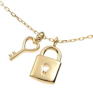 K10 YG 鍵と錠のコンビチャームネックレス|prima-luce