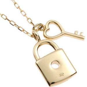 K10 YG 鍵と錠のコンビチャームネックレス|prima-luce|02