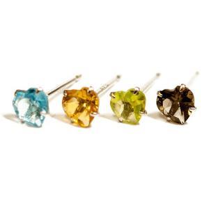 人気の天然石4色とK14ホワイトゴールド ピアス(ペア)|prima-luce