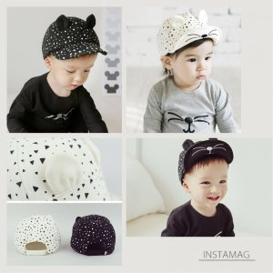 ベビー ベビーキャップ ベビー帽子 子ども服 帽子 かわいい 可愛い キャップ 赤ちゃん 猫 耳付き ワイヤー入り