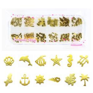 薄型メタル パーツ ゴールド240枚 ネイル&レジン用 12種類×各20個ケース入 (マリン)