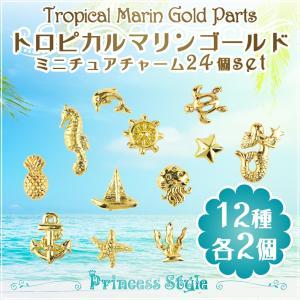 ミニチュアチャーム マリンパーツ メタル パーツ ネイル レジン 封入 ゴールド ラウンドケース入り(12種類×2個)24個セット (トロピカルマリン, ゴールド) princess-factory