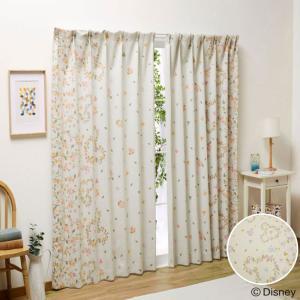 ・フラワー柄とリーフ柄がおしゃれなカーテン ・お花柄と葉っぱ柄で描かれているミッキーの形がとてもかわ...