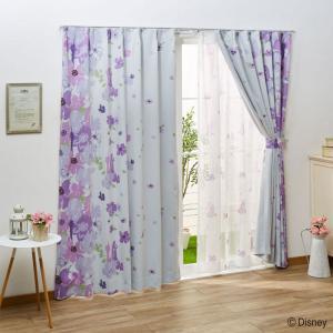 ・ラプンツェルのシルエットとフラワー柄がおしゃれでかわいいカーテン ・ナチュラルな雰囲気のカーテンな...