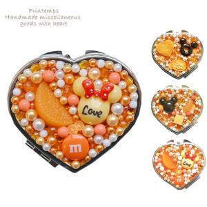 コンパクトミラー ハート型 オレンジ 両面タイプ 選べるデザイン スイーツデコ|printemps410