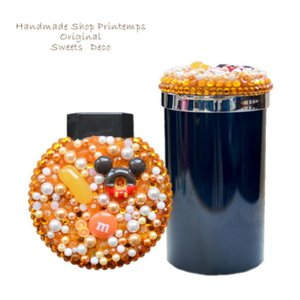 光アッシュ缶灰皿 LEDライト付き(電池式) 火消し口2つ  使用パーツ:アクリルストーン・パーツ・...