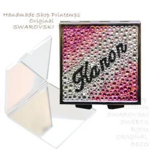 SWAROVSKI コンパクトミラー  スクエア型Lタイプ グラデーション デコ  ギフトラッピング無料|printemps410