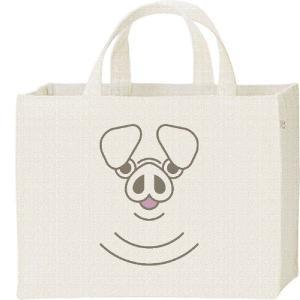 キャンバスバッグ・スクエア ブタ(豚)ファニーフェイス・ぶた カレッジバッグ|prints