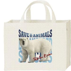 白熊(しろくま)絶滅危惧動物(ホッキョクグマ)/キャンバスバッグ・スクエア カレッジバッグ prints