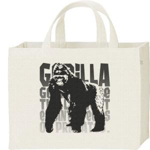 ゴリラ(モノトーン動物柄)ごりら/キャンバスバッグ・スクエア カレッジバッグ|prints