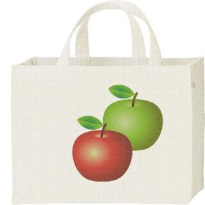 キャンバスバッグ・スクエア 赤りんご&青リンゴ(林檎)フルーツ柄 カレッジバッグ|prints