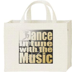 音楽に合わせて踊る(ロゴ)/キャンバスバッグ・スクエア カレッジバッグ