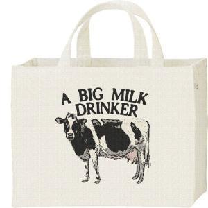 キャンバスバッグ・スクエア 牛(ホルスタイン)ミルク大好き カレッジバッグ|prints