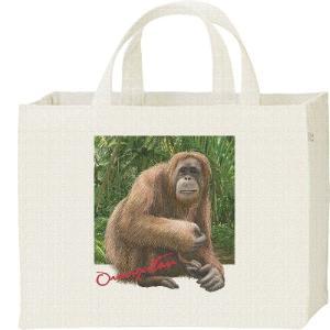 オランウータン +背景(おらんうーたん)/キャンバスバッグ・スクエア カレッジバッグ|prints