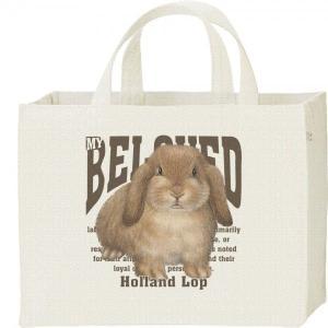 キャンバスバッグ・スクエア ホーランド ロップ イヤー(兎)ウサギ(ペット シリーズ) カレッジバッグ|prints