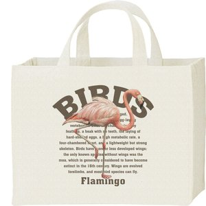 フラミンゴ(鳥シリーズ)/キャンバスバッグ・スクエア カレッジバッグ|prints