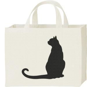 キャンバスバッグ・スクエア 猫シルエット(後ろ姿) カレッジバッグ|prints