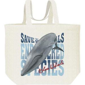鯨(クジラ)絶滅危惧動物(くじら)シロナガスクジラ/キャンバスバッグ・L エコバッグ|prints