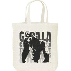 ゴリラ(モノトーン動物柄)ごりら/キャンバスバッグ・M トートバッグ|prints