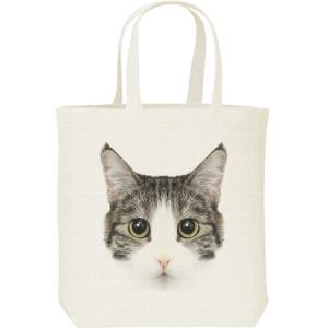 ミックス猫の顔(サバトラ白/雑種)/キャンバスバッグ・M トートバッグ|prints