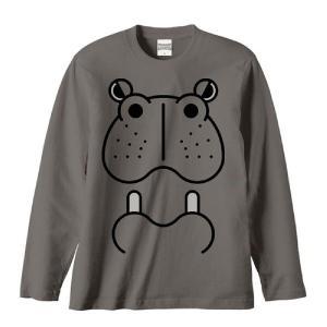 カバ(河馬)ファニーフェイス・かば/長袖Tシャツ prints