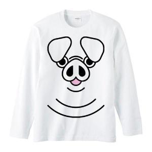 ブタ(豚)ファニーフェイス・ぶた/長袖Tシャツ prints