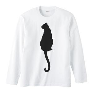 猫シルエット(後ろ姿)/長袖Tシャツ prints
