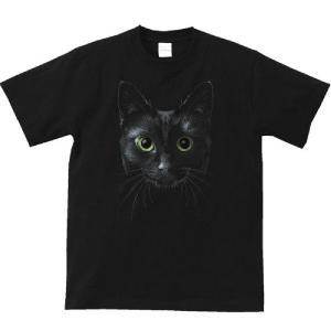 暗闇の黒猫(くろねこ)/半袖Tシャツ  |prints