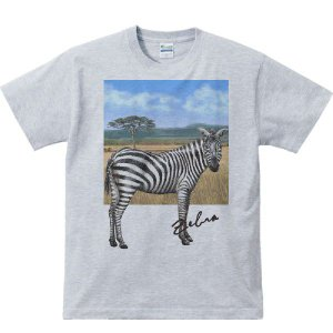 シマウマ +背景(しまうま)/半袖Tシャツ  |prints