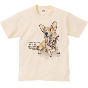 ウェルシュ・コーギー(散歩に連れてって)犬/半袖Tシャツ  |prints