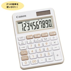 (取り寄せ品)CANON キヤノン カラフル電卓 ミニ卓上サイズ 10桁 アイボリー LS-105W...