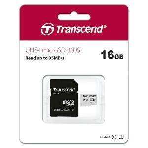 Transcend トランセンド 16GB microSDHC 300S Class 10、UHS-I U1 対応 SDカードアダプタ付属|printus