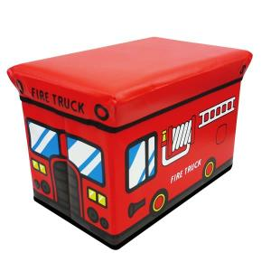 座れる収納ボックス (ファイヤートラック) ストレージBOXスツール/消防車/遊べる/収納/椅子/おもちゃ箱【ラッピング不可】|pripar