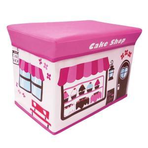 座れる収納ボックス (ケーキショップ) ストレージBOXスツール/ピンク/遊べる/収納/椅子/おもちゃ箱【ラッピング不可】|pripar