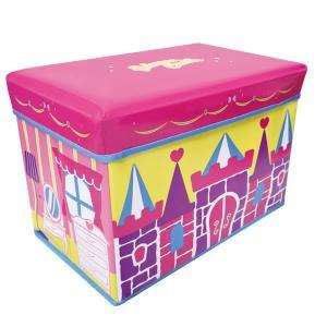 座れる収納ボックス (キャッスル) ストレージBOXスツール/ピンク/お城/遊べる/収納/椅子/おもちゃ箱【ラッピング不可】|pripar