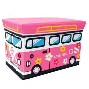 座れる収納ボックス (ワゴンバス/フラワーピンク) ストレージBOXスツール/ピンク/お花/遊べる/収納/椅子/おもちゃ箱【ラッピング不可】|pripar