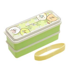 すみっコぐらしはし付2段ランチボックス(シリコーン製シールブタ付) ひやひやすみっこさんぽ お弁当箱/クローバー/電子レンジ/食洗機|pripar