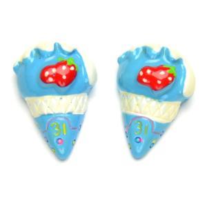 スィーツ デコパーツ アイスクリーム イチゴ ブルー トッピンク付き d18-p