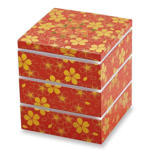 重箱 三段 オードブル 花の舞 赤 小