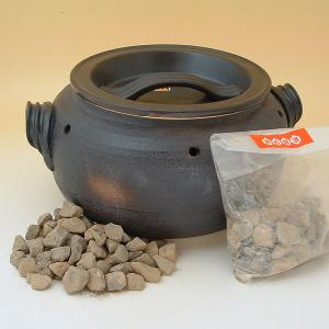 石焼き芋鍋 いも太郎 天然石500g付 萬古焼 陶器...