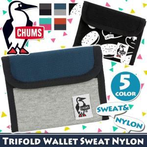 財布 二つ折り チャムス CHUMS ウォレット スウェット マジックテープ ベルクロ メンズ レディース 男女兼用 ブランド Trifold Wallet Sweat Nylon 小銭入れ|pro-shop