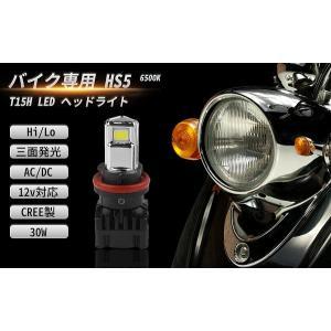 バイク HS5 LED バルブ 交流 直流 スクーター 6500K 3000LM 30W 一年保証 ...