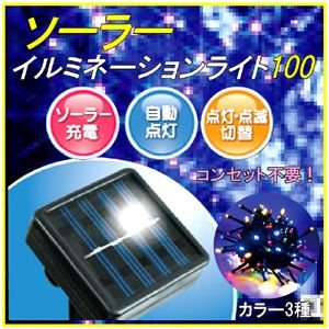ソーラーイルミネーションライト100灯 全3色(ブルー・ホワイト・MIX)|probrand