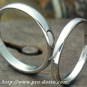 ジュエリー作家と一緒に作る甲丸つや有り チタンリング(サイズ16号以上)鍛造 結婚指輪 ハンドメイド