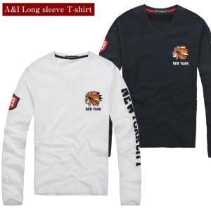 【SALE】  ロンT  メンズ Tシャツ 長袖 Vネック アメカジ ロゴ ワッペン ホワイト/ネイ...