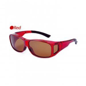 偏光オーバーグラス レッド メガネの上からかけられるオシャレな偏光グラス。|profit