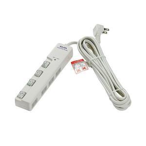 ELPA(エルパ) 耐雷サージ LEDランプ スイッチ付タップ(横差し) 5m 4個口 ホワイト WLS-LY450MB(W)|profit